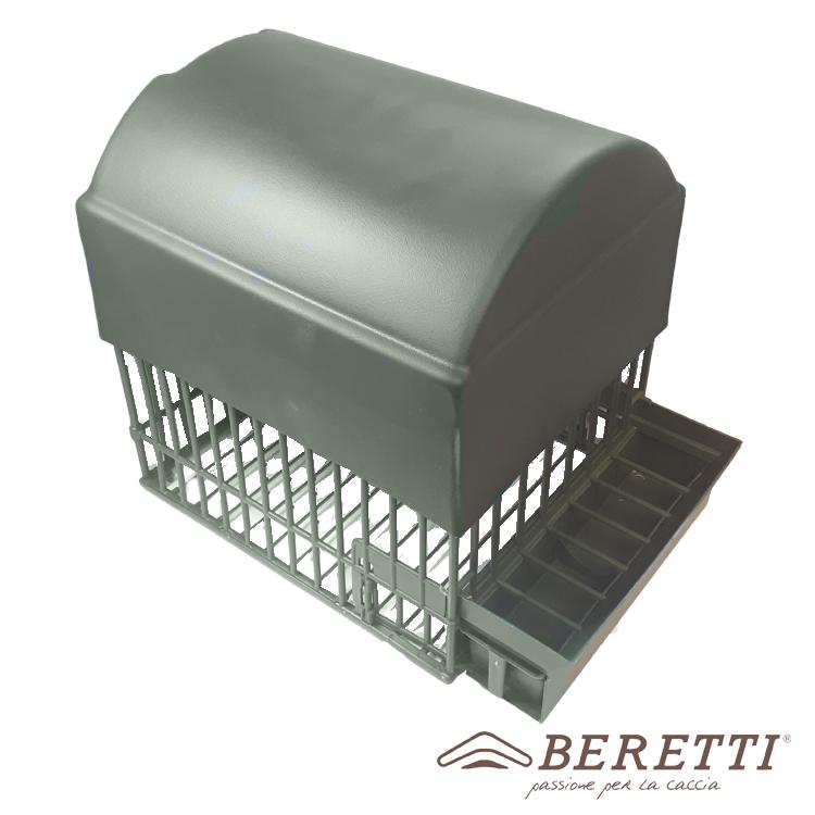 Raffigurata la gabbia da merlo con tetto a cupola montata sulla gabbia, Beretti